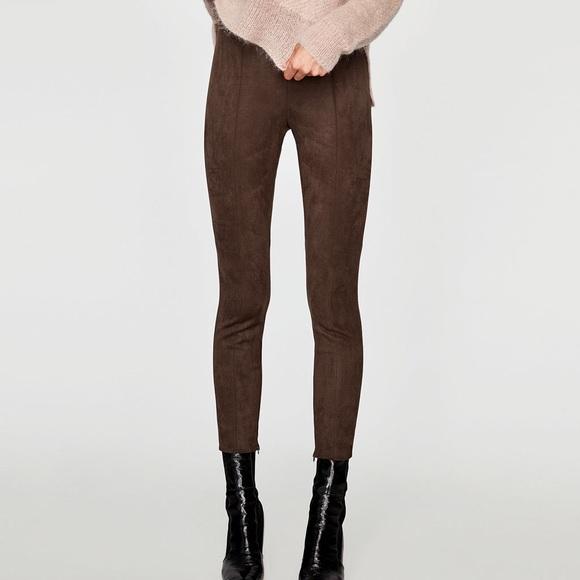 91ede727ca8ca Zara Pants | Faux Suede Leggings | Poshmark